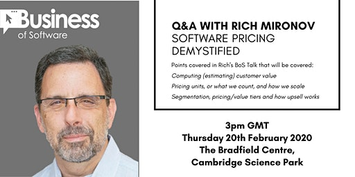 Software Pricing Demystified: Q&A and Talk Screening with Rich Mironov