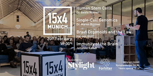 15x4Talks: Stem Cells, Genomics, Brain Organoids &L aw, Brain Immunity