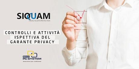 Controlli e attività ispettiva del Garante Privacy biglietti
