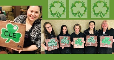 Irish Paint Night with Pre-traced Shamrock on Wood Paint and Sip
