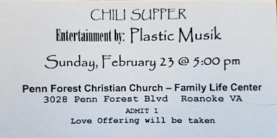 PFCC Chili Supper - Featured entertainment by Plastic Musik