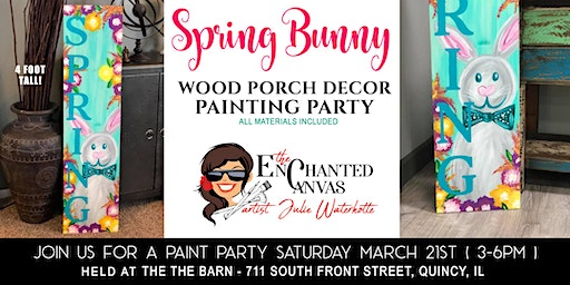 Large 4ft Spring Bunny Wood  Porch Sign - Decor