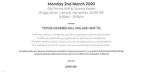 Free Employment Law and Health and Safety Management Tips tickets