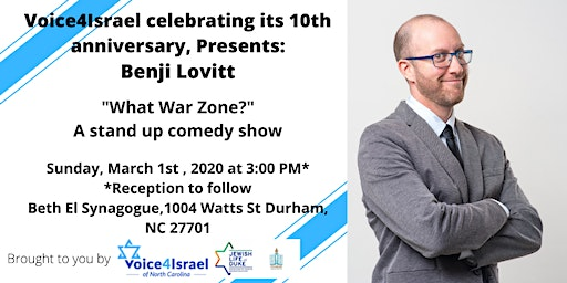 Voice4Israel presents: Benji Lovitt- What war zone? (stand up comedy show)