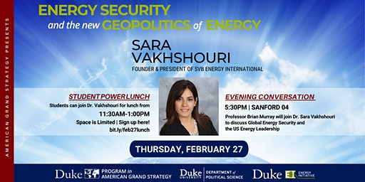 Power Lunch with Dr. Sara Vakhshouri, Thursday, Feb. 27, 2020