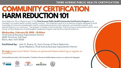 Harm Reduction 101 - Community Certification tickets