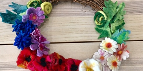 Felted Garden Flowers Wreath - Resist and Wet Needle Felting tickets