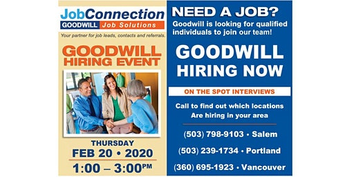 Goodwill is Hiring - Tillamook - 2/20/20