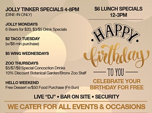 Jolly Tinker Daily Specials (4-8pm Dine-In Only) tickets