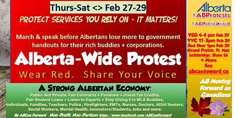Mega-Protest Alberta-Wide >Better Gov't & Budget< Many Cities See Schedule tickets
