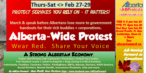 Mega-Protest Alberta-Wide >Better Gov't & Budget< Many Cities See Schedule