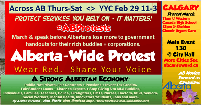Protest Alberta Wide > YYC +Others Feb 29/ YEG Feb 29>Better Gov't/Budget image