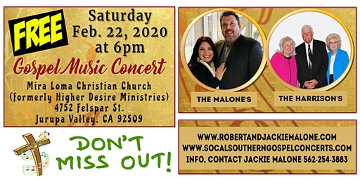 Free Gospel Concert in Jurupa Valley, CA ~ ALL ARE WELCOME, PLEASE JOIN US