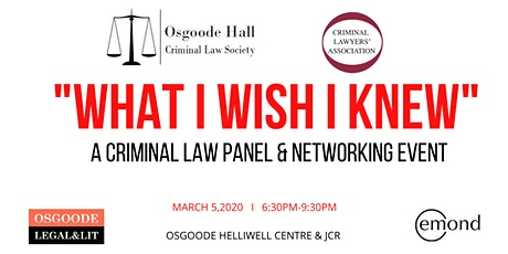"""""""What I Wish I Knew"""": A Criminal Law Panel & Networking Event tickets"""