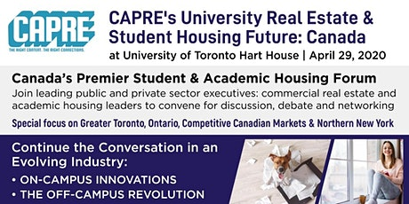 CAPRE's University Real Estate & Student Housing Future: Canada tickets