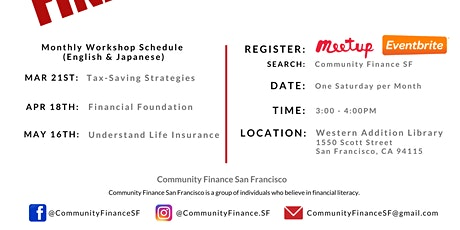 Financial Fitness - Tax-Saving Strategies  - Community Finance SF - Mar 21st tickets