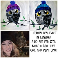 Family Day EVENT Paint an Owl Canvas and MEET a LI