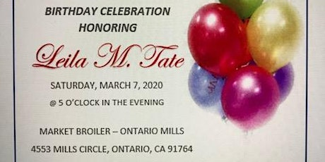 It's Party Time! Leila Tate Turns 90 Years Old, Let's Celebrate! tickets