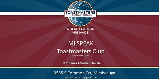 Toastmasters Public Speaking and Leadership Program at Anglican Church, Burnhamthorpe Rd W and Erin Mills pkwy