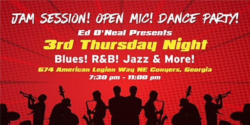 "Live ""BLUES"" JAM Session! OPEN Mic! DANCE Party w Ed O'Neal"