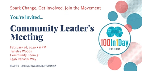 100in1Day Burlington Community Leaders' Meeting tickets