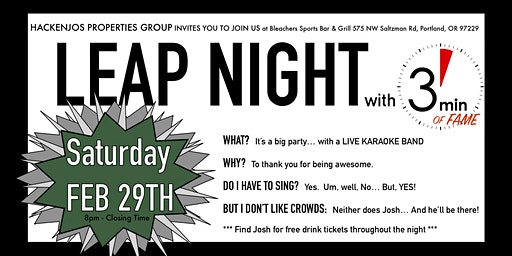 Feb 29th LEAP NIGHT - Live band karaoke with 3 Minutes of Fame