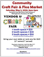 May 2nd - Community Craft Fair & Flea Market
