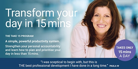 TAKE 15 Program. Time management and Personal Effectiveness tickets