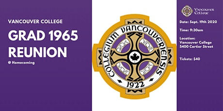 Vancouver College Grad '65 Reunion (55 Years) tickets