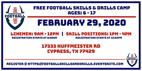 EVERYTHING FOOTBALL: FREE FOOTBALL  SKILLS & DRILLS CAMP tickets