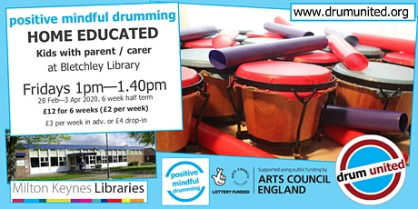 drum united HOME ED KIDS @ Bletchley library Fridays 1-1.40pm, 28 Feb-3 Apr tickets