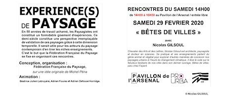 XPERIENCE(S) DE PAYSAGE « BÊTES DE VILLES » avec Nicolas GILSOUL - 29 FEVRIER 2020 à 14h00 billets