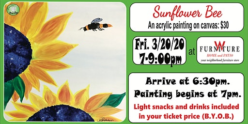 PAINTIN' PARTY with KAT: Sunflower Bee (ACRYLIC PAINTING on CANVAS)