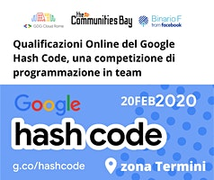 Evento #TheCmmBay Hashcode 2020 di GDG Cloud Roma - Coding Challenge
