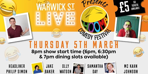 Warwick St Live presents Hooma Comedy Festival Norwich (Thursday 5th March)