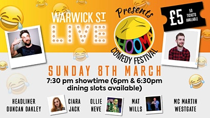Warwick St Live presents Hooma Comedy Festival Norwich (Sunday 8th March) tickets