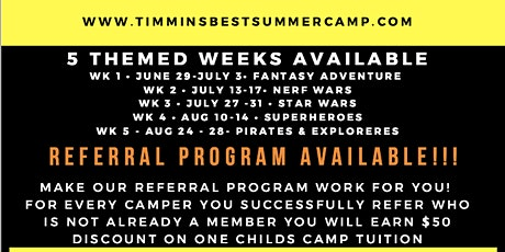 Timmins BEST Summer Camp - Week 5: Pirates and Explorers Week! tickets