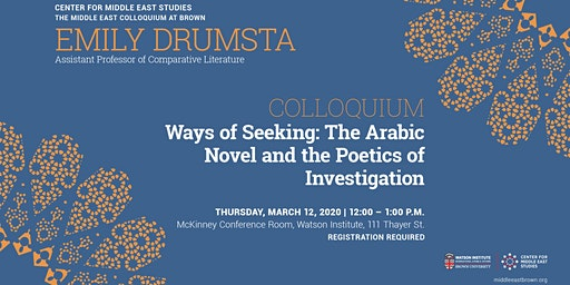 Emily Drumsta – The Arabic Novel and the Poetics of Investigation