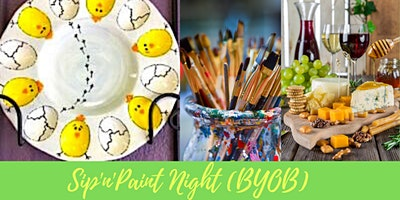 Spring Chick Deviled Eggs Tray Sip'n'Paint POTTERY PAINTING CLASS (BYOB)