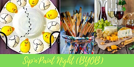 Spring Chick Deviled Eggs Tray Sip'n'Paint POTTERY PAINTING CLASS (BYOB) tickets