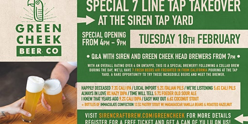 Green Cheek Beer Co Tap Takeover at Siren Tap Yard