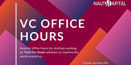 VC Office Hours with Nauta Capital: Tech For Good  tickets