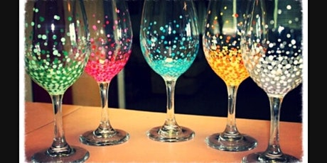Paint and Sip 2 Large Wine Glasses with Any Colors and Designs. Paint Night tickets