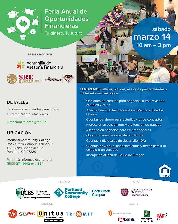 Feria Anual de Oportunidad Financieras: Tu dinero, Tu futuro image