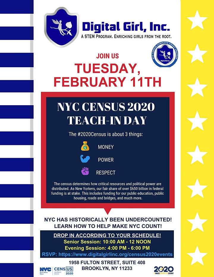 DGI Census 2020 Teach In - LEARN HOW TO HELP MAKE NYC COUNT! image