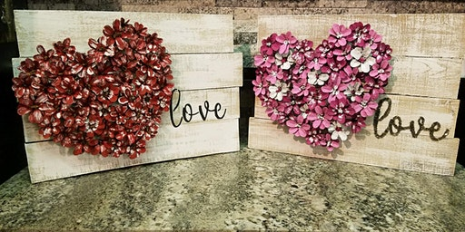 Pinecone Flower Heart Stone & Pallet™ Schererville - Eco-friendly Home Goods made by YOU!