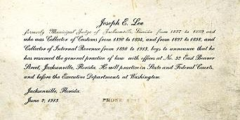 Speaker Series Event: Joseph E. Lee -- Jacksonville's First Black Lawyer