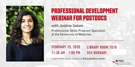 Professional Development Webinar for Postdocs with Justine Salam tickets