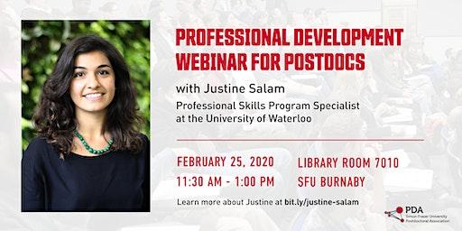 Professional Development Webinar for Postdocs with Justine Salam
