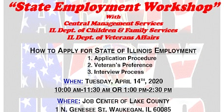Canceled-State of Illinois Employment Workshop with CMS, DCFS, IDVA-Lake tickets